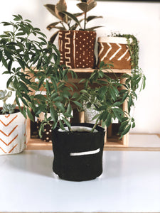 Black And White Stripes Mud Cloth Plant Basket