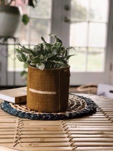 Mudcloth Planter Basket - MUSTARD STRIPES