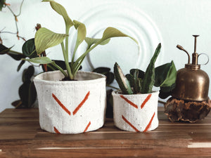 Orange and Natural Mudcloth Plant Basket 4,6 and 8 inch's