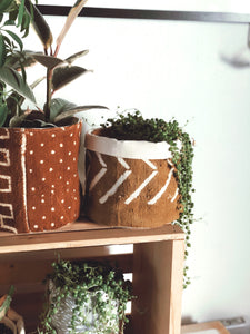 Mustard Chevron Mud Cloth Plant Basket