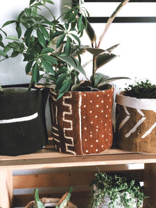 Rust Mud Cloth Plant Basket