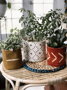 Plus Symbol Mudcloth Planter Basket