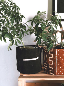 Black And White Stripes Mud Cloth Planter Basket 4,6 and 8 inch's