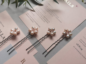 Cherry Blossom Pearl Hair Pins Set of 6