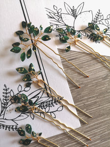 Enchanted Glass Hairpins Set of 7 in Gold