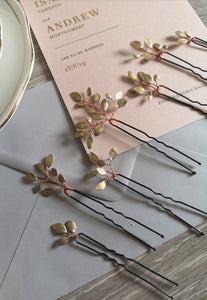 Enchanted Glass Hairpins Set of 7 in Rose Gold