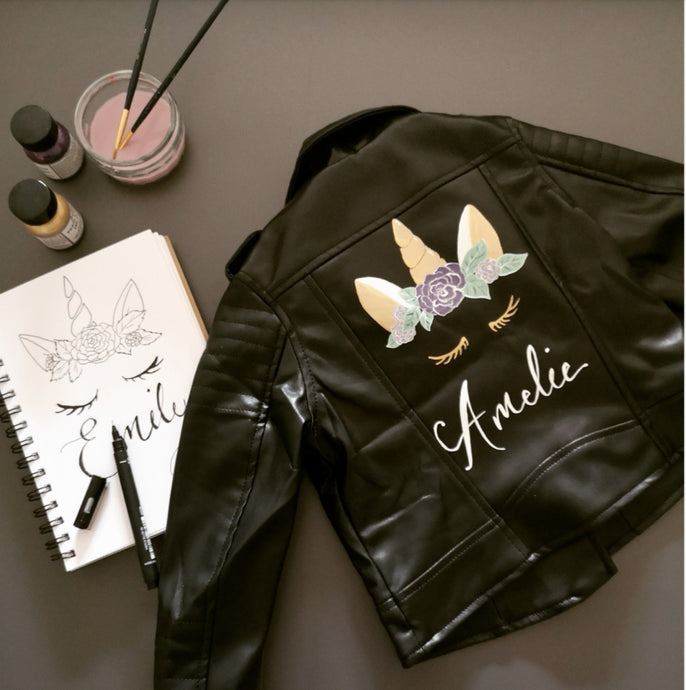Custom Jacket Painting - Unicorn