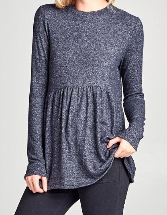 Carmen Top in Charcoal