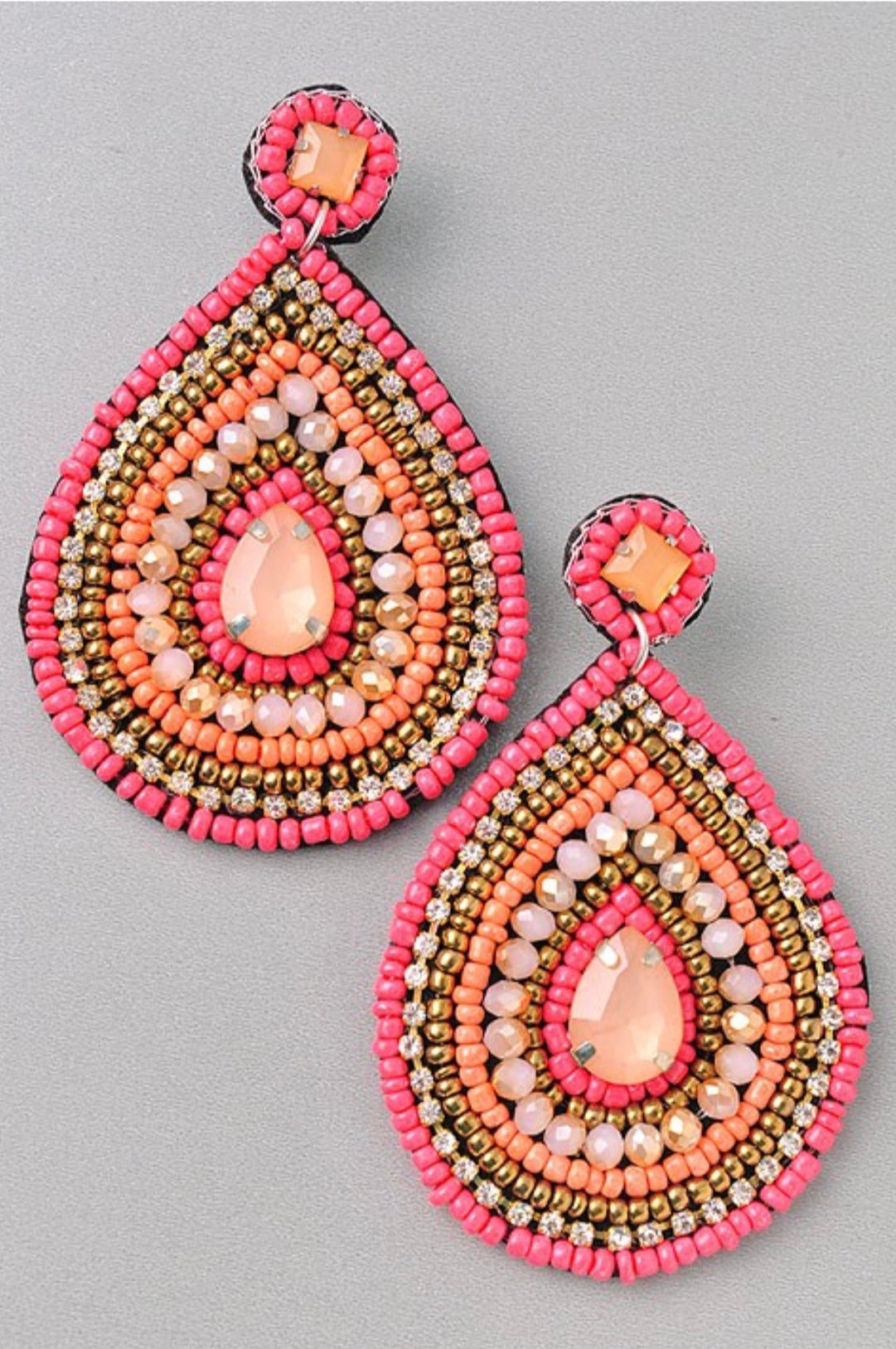 Coral Beaded Statement Earrings