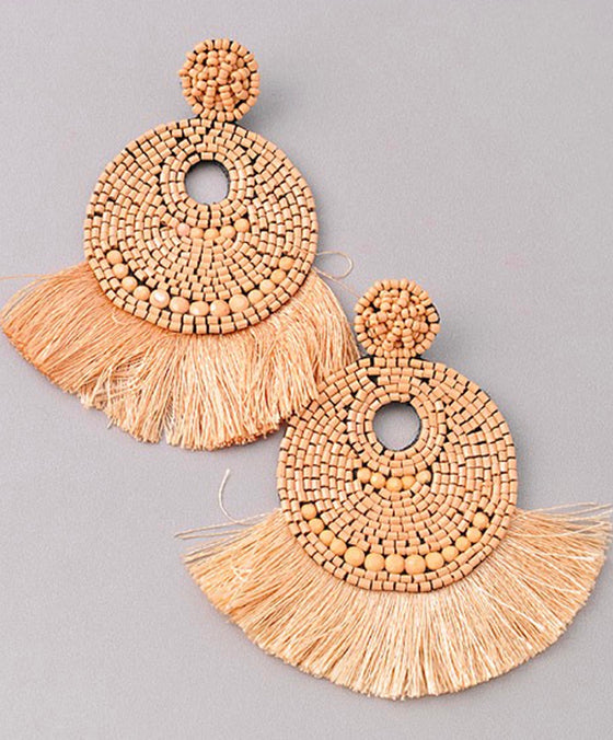 Natural Beaded Statement Earrings