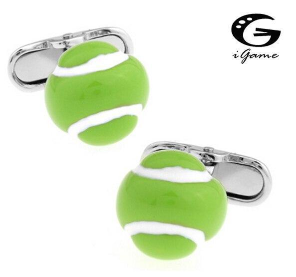 iGame Men Gift Fashion Cufflinks Fluorescent Green Color Copper Material Novelty Tennis Ball Design - cadeau tennis homme femme enfant