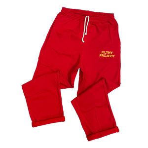 filthy® artist open-bottom sweatpants (red)
