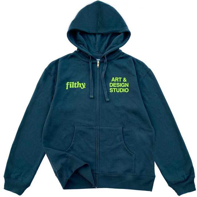 filthy studio zip-up hoodie (deep navy)