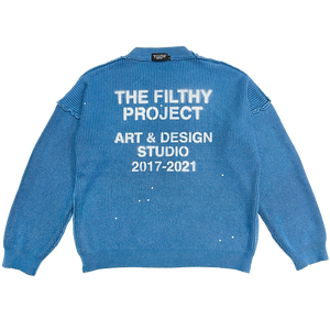 filthy® stenciled artist knit (indigo blue)