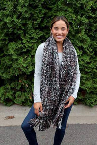 Chunk Knit Scarf-Brown