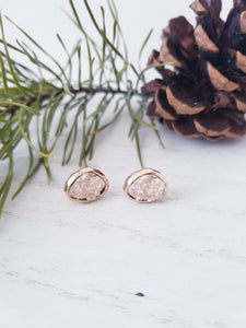 Druzy Studd Earrings- Gold
