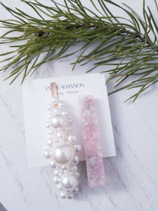 Hair Clips- Pink Pearl