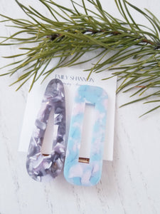 Hair Clips-Grey Blue Marble