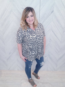 Peppi Peplum Leopard Button- Up Top