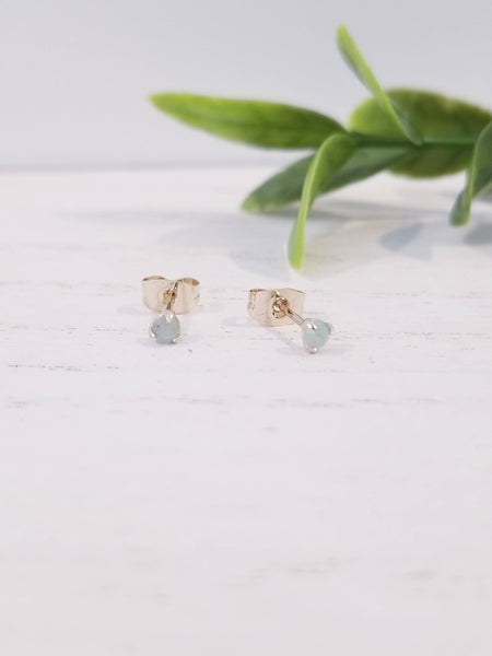 Tiny Jade Solitaire Stud Earrings - Gold