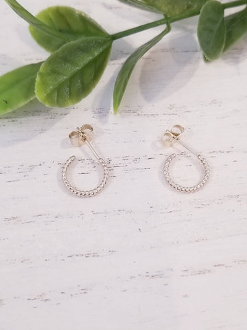 Twisted Rope Hoop Earrings - Gold