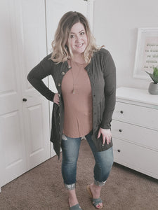 Jessie's Button Cardigan- Charcoal