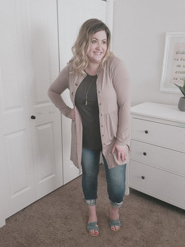 Jessie's Button Cardigan- Mocha