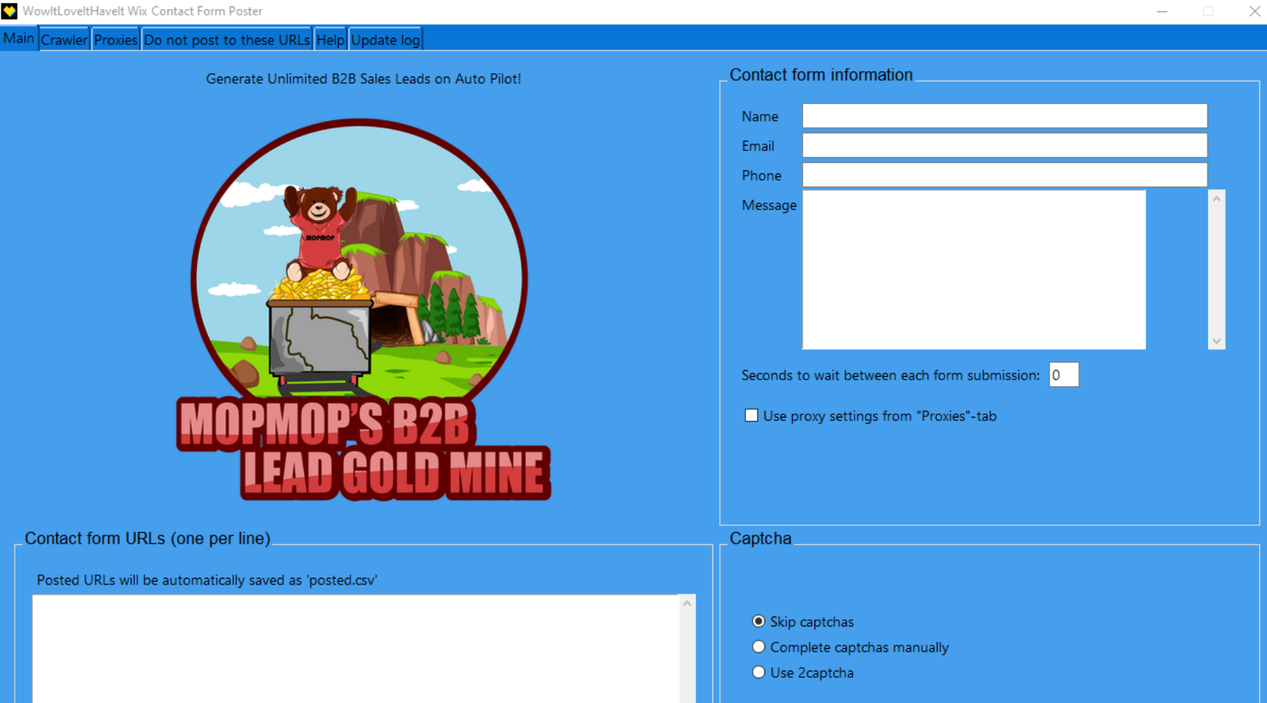 Wix Contact Form Submitter - Mop Mop's B2B Lead Gold Mine