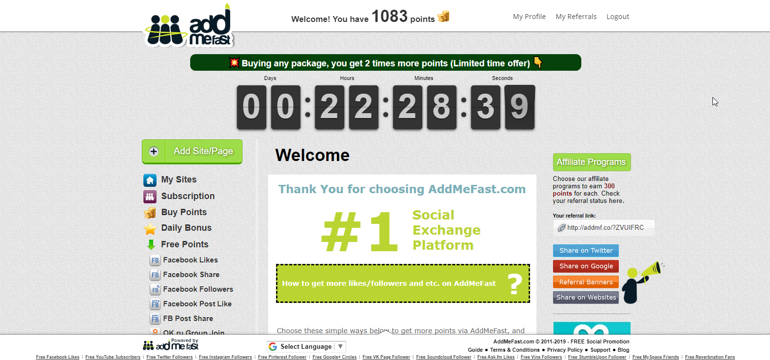 AddMeFast Social Media Exchange Platform