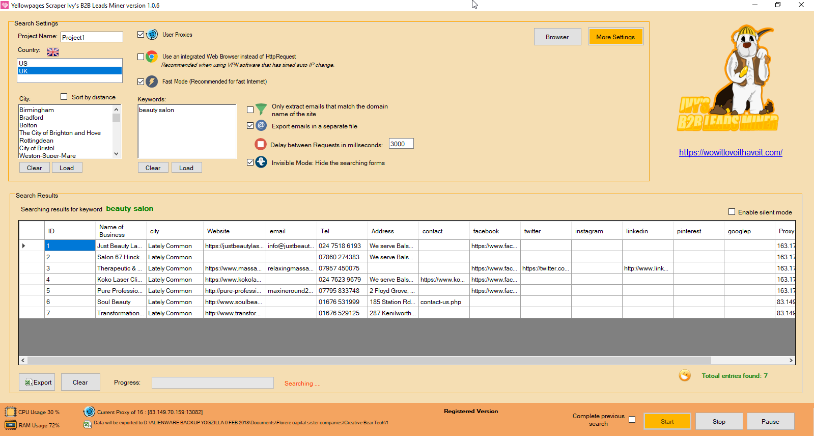 Yellow Pages Data Extraction Software