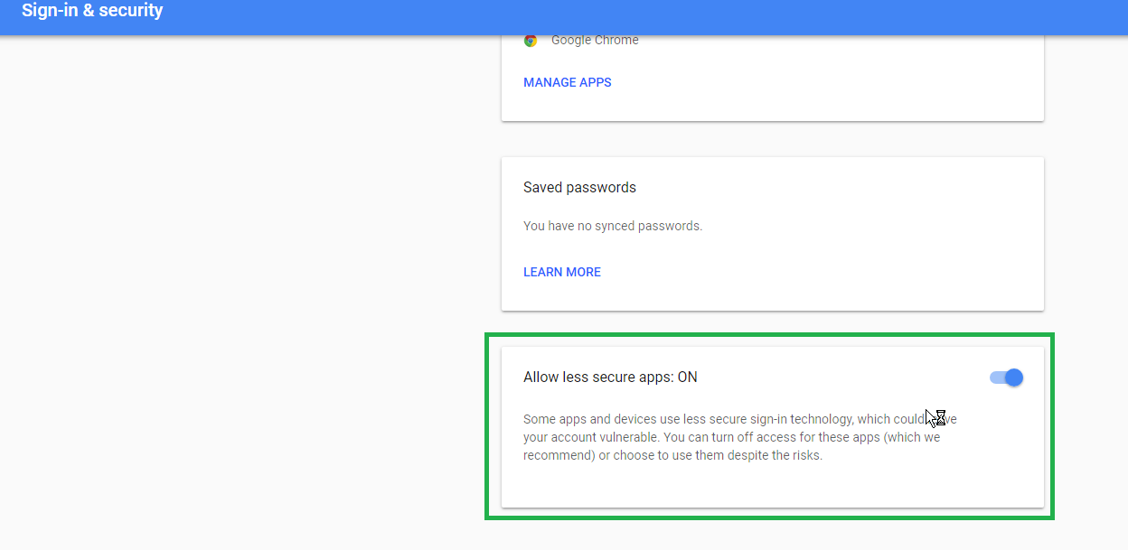 Step 3: Scroll Down to the Bottom of the Page and Select Allow Less Secure Apps