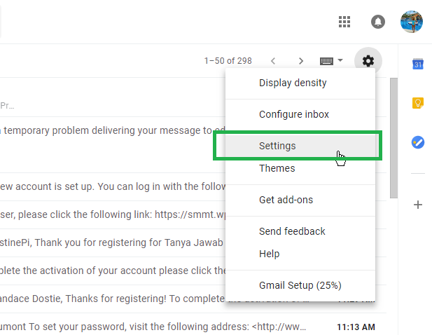 Step 4: Go to Your Gmail Inbox and navigate to Settings