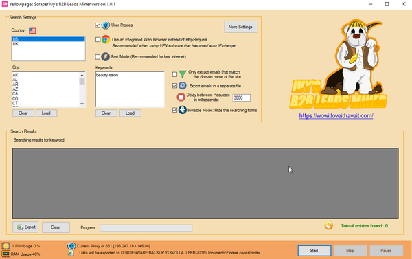 Screenshot of Ivy's B2B Leads Miner Yellow Pages Extractor