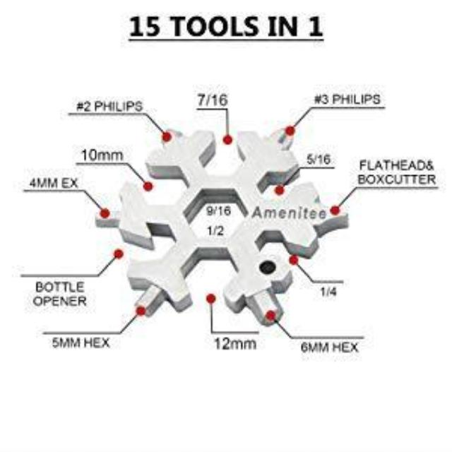 DIYTool™ : 15-in-1 Stainless Steel Snowflake Multi-tool
