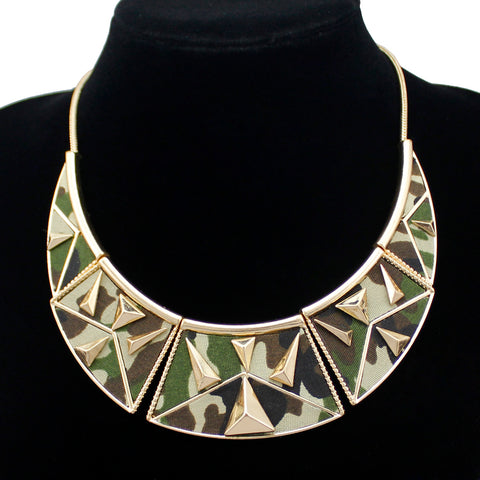 Gold Military Camo Maxi Choker Collar Necklace