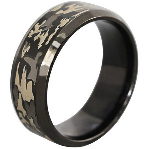 8MM Size 7-14 Black Stainless Steel Ring Camouflage Wedding Ring for Men or Women