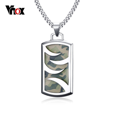 Vnox Mens or Women's Camouflage Stainless Steel Necklace 24""