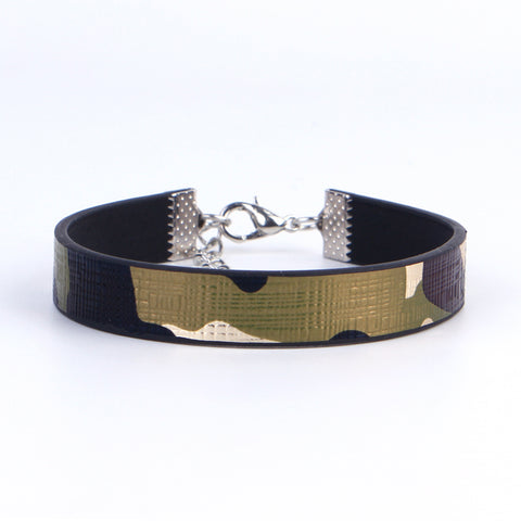 PU Leather Bracelet with Camouflage print