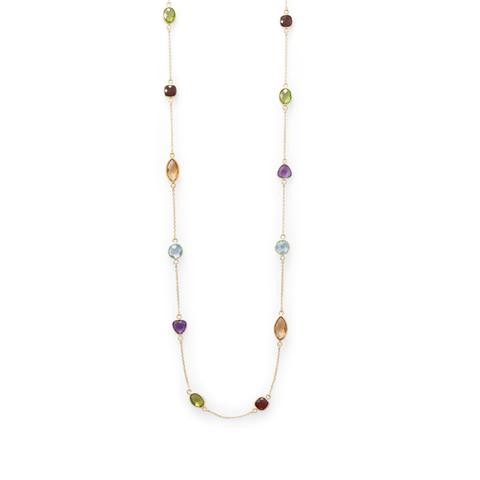 14K Gold Multi-Stone Necklace