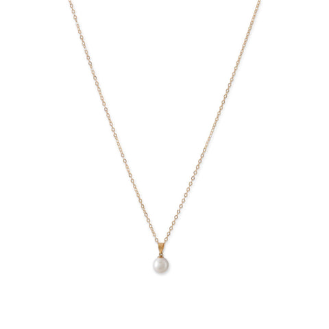 14K Gold Freshwater Pearl Pendant Necklace
