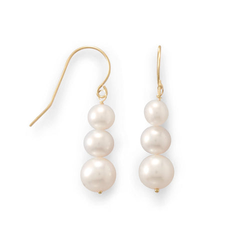 14K Gold Graduated Cultured Pearl Earrings