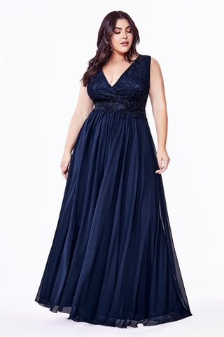 Lace Bodice V-Neck Bridesmaids Dress - S7201