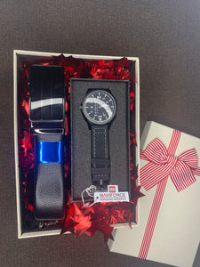 Men's Gift Set 6 ( Naviforce black + Belt)
