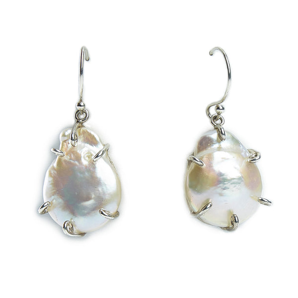 Sterling Silver, White Keshi Pearl Prong Earrings