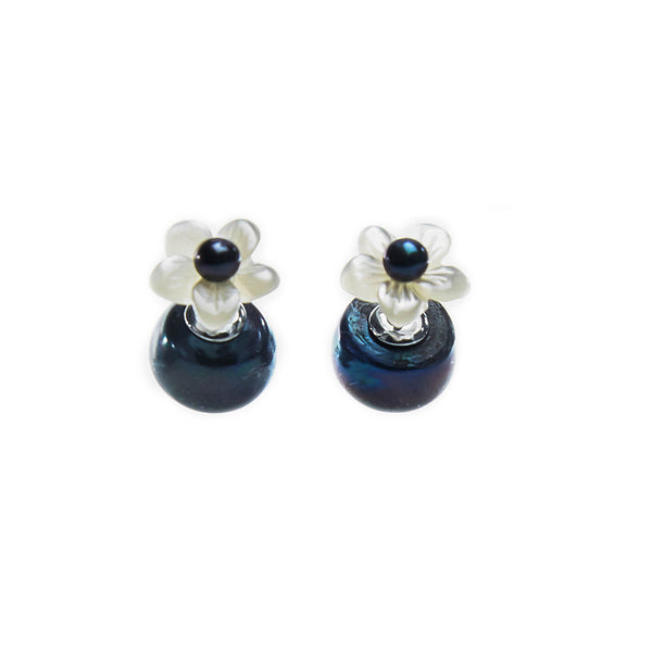 Mother of Pearl Flower and Peacock Pearl Pistil Reversible Earrings