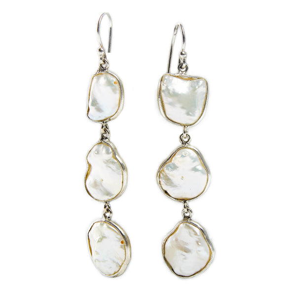 3 Tier Keshi Pearl Earrings in Gold or Sterling Silver