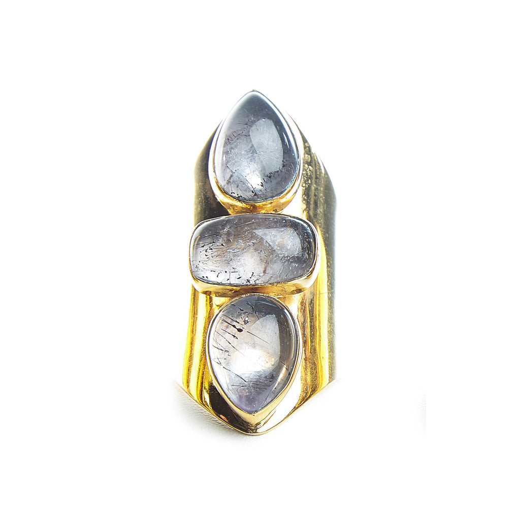 Rutilated Quartz Adjustable Ring