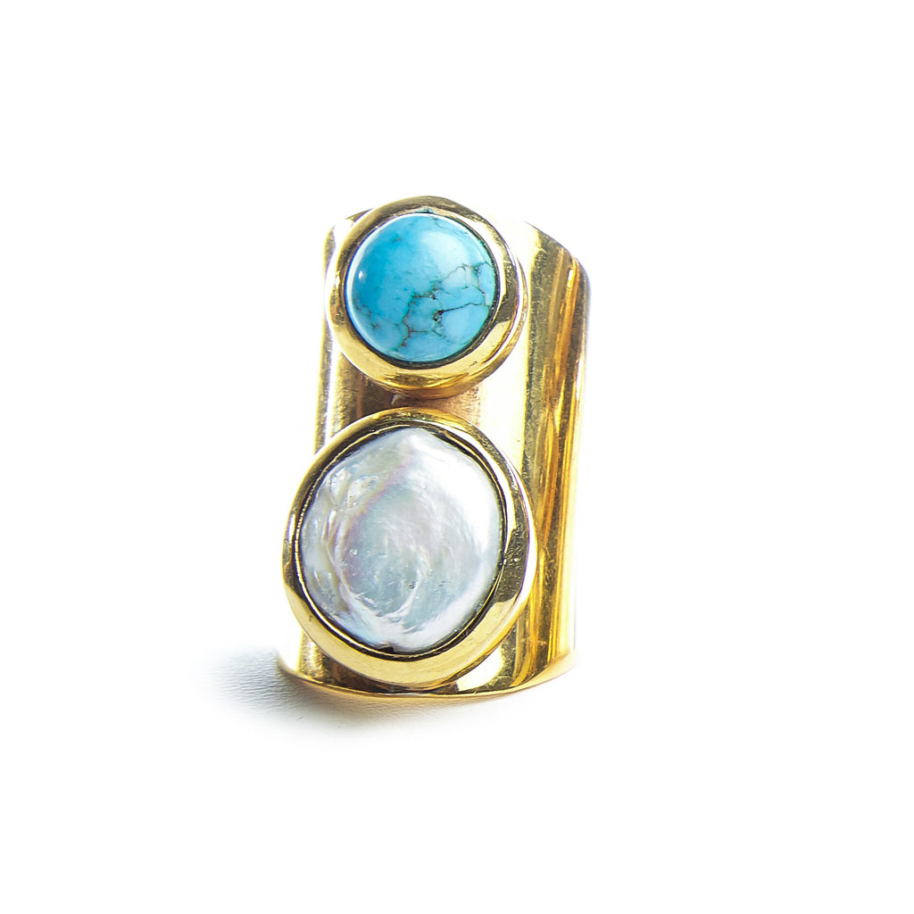 Turquoise and Mother of Pearl Adjustable Ring