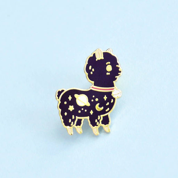 Black Planet Alpaca Enamel Pin