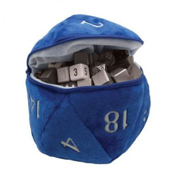 d20 Plush Dice Bag, Blue